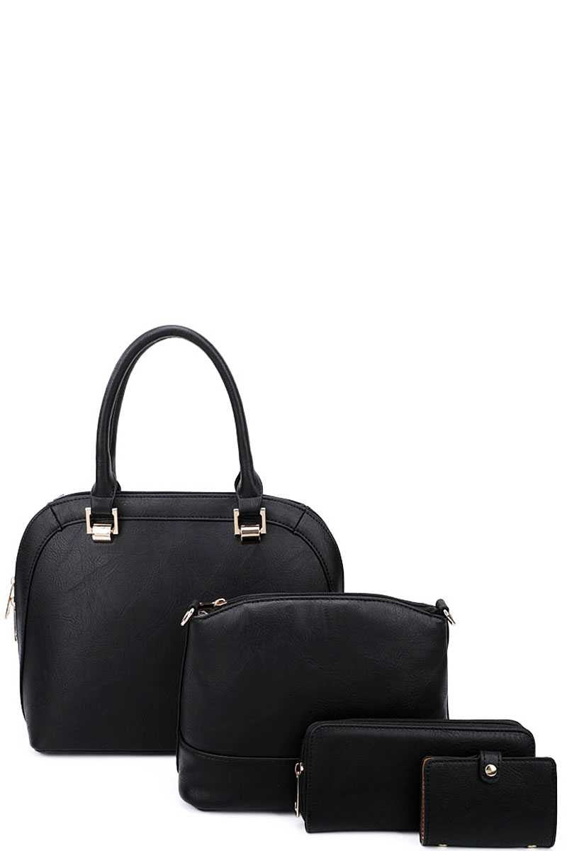 Black 4-in-1 Modern Satchel Purse