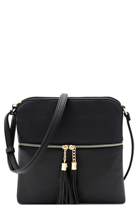 Black Tassel Messenger Cross Body Purse