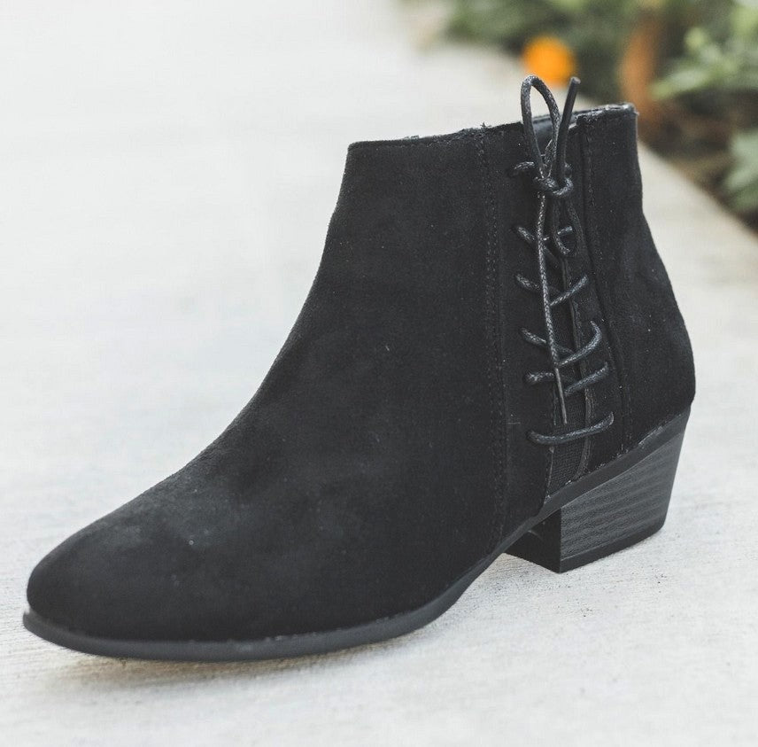 Black Low Heel Booties