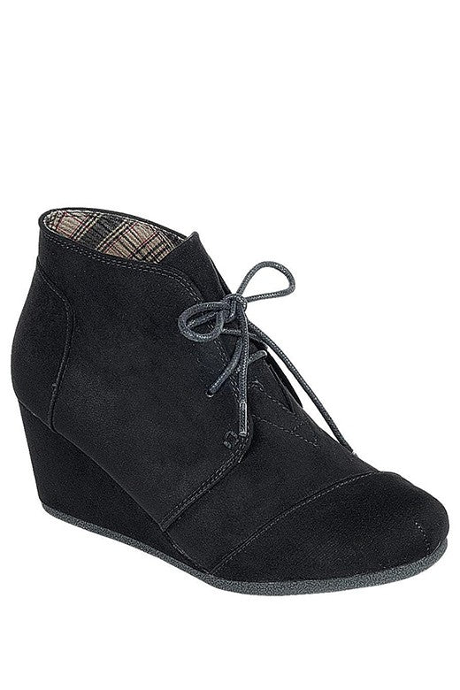 Black Wedge Booties with Lace Up Front