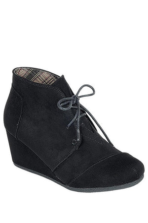 Black Wedge Bootie with Lace Up Front