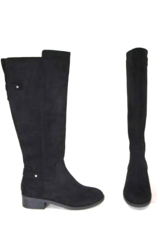 Black Suede Riding Boot