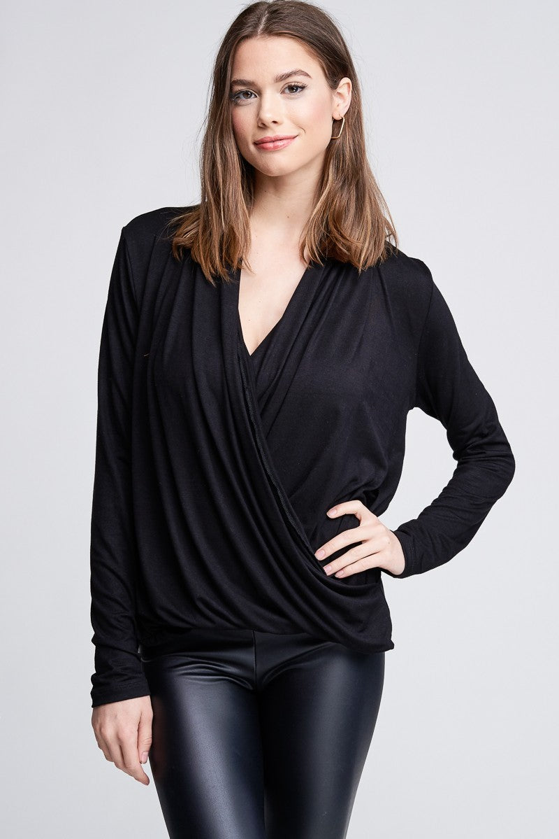 Black Front Wrap Long-Sleeved Top (Curvy)