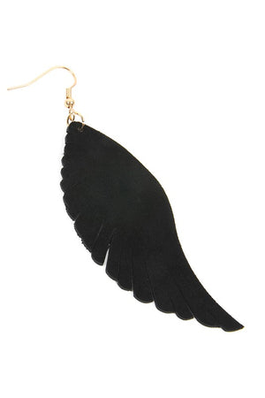 Black Leather Wing Shape Earring
