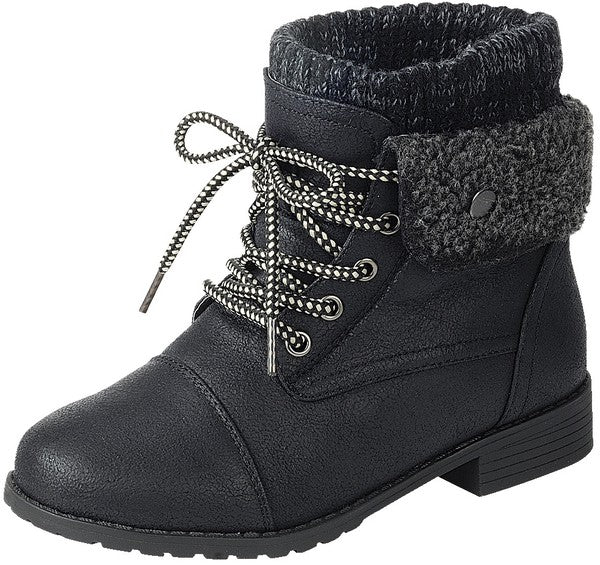 Black Fleece Fold Down Combat Boots