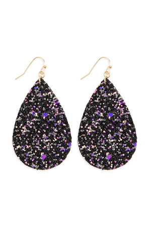 Black Multi-Color Sequin Tear Drop Earring