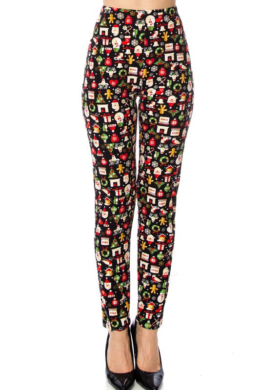 Black Santa Holiday Leggings Curvy Curvy (Fits Sizes 10-18)