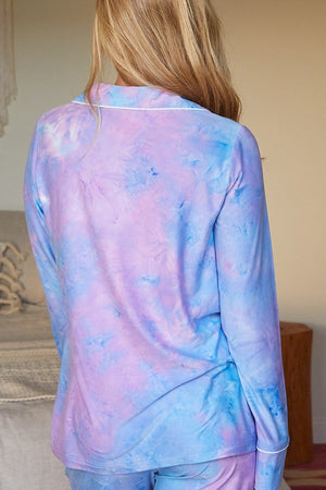 Blue Tie Dye Long Sleeve Pajamas
