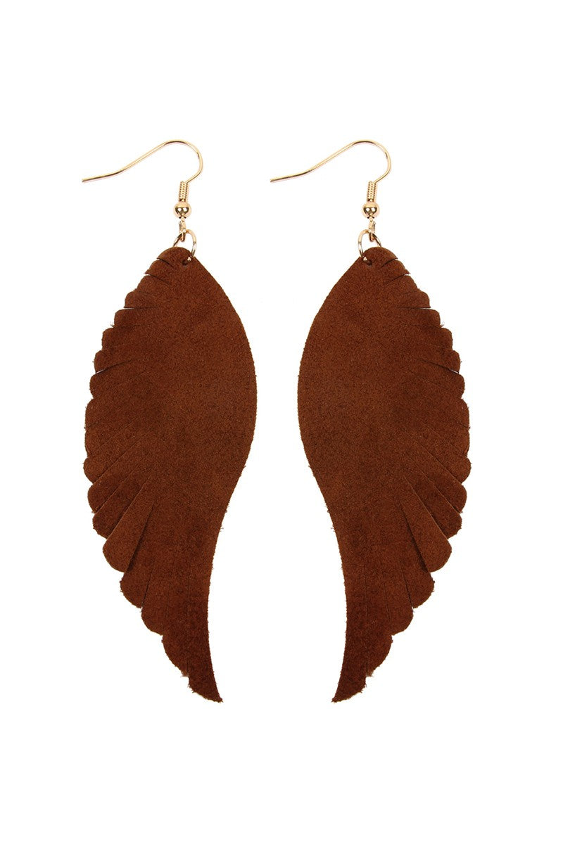 Brown Leather Wing Earrings