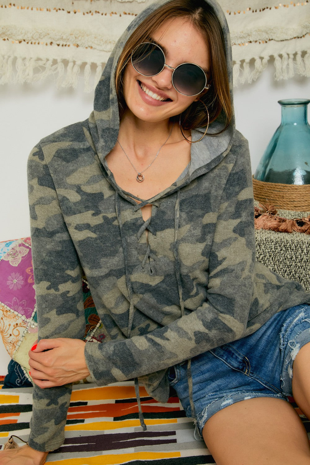 Camo Lace up Sweater