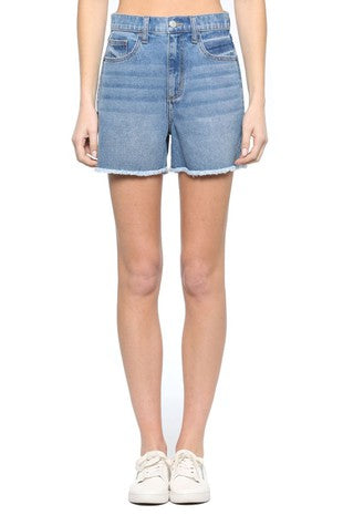 Light Wash Raw Hem Shorts