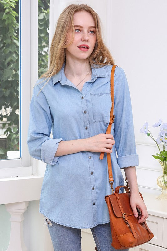 Chambray Light Wash Button Top