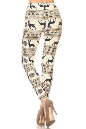 Cream Reindeer & Snowflake Pattern Leggings (Fits sizes 2-12)