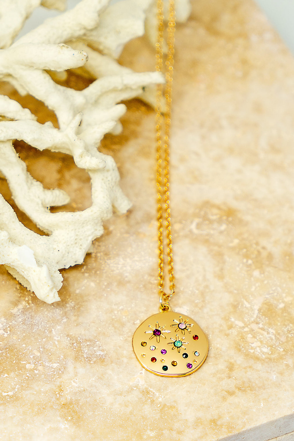 Gold Circle Pendant Necklace w/ Multi-Color Rhinestones