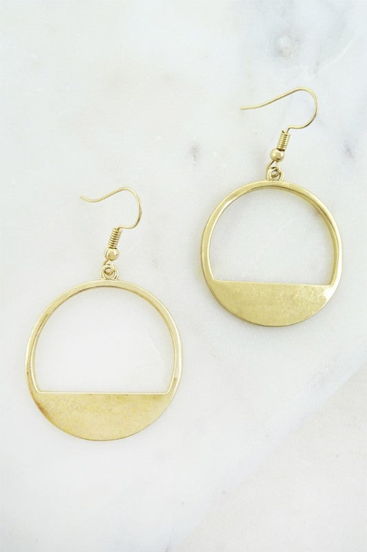 Gold Circle Cut Out Earrings