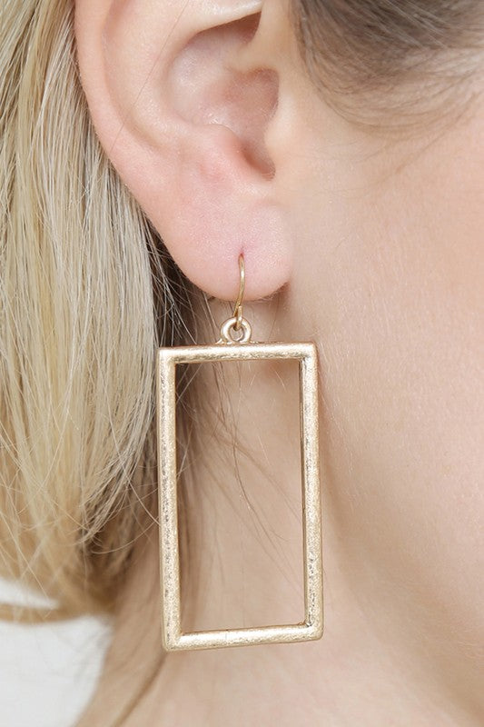 Gold Matte Rectangle Earring