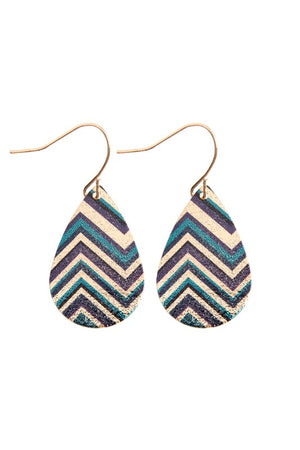 Gold and Teal Tear Drop Earring