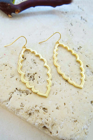 Gold Wavy Marquise Earring