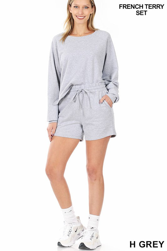 Gray French Terry Sweater and Short Set