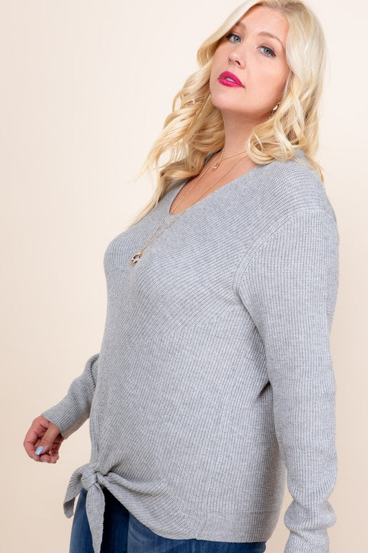 Gray Tie Front Knit Sweater (Curvy)