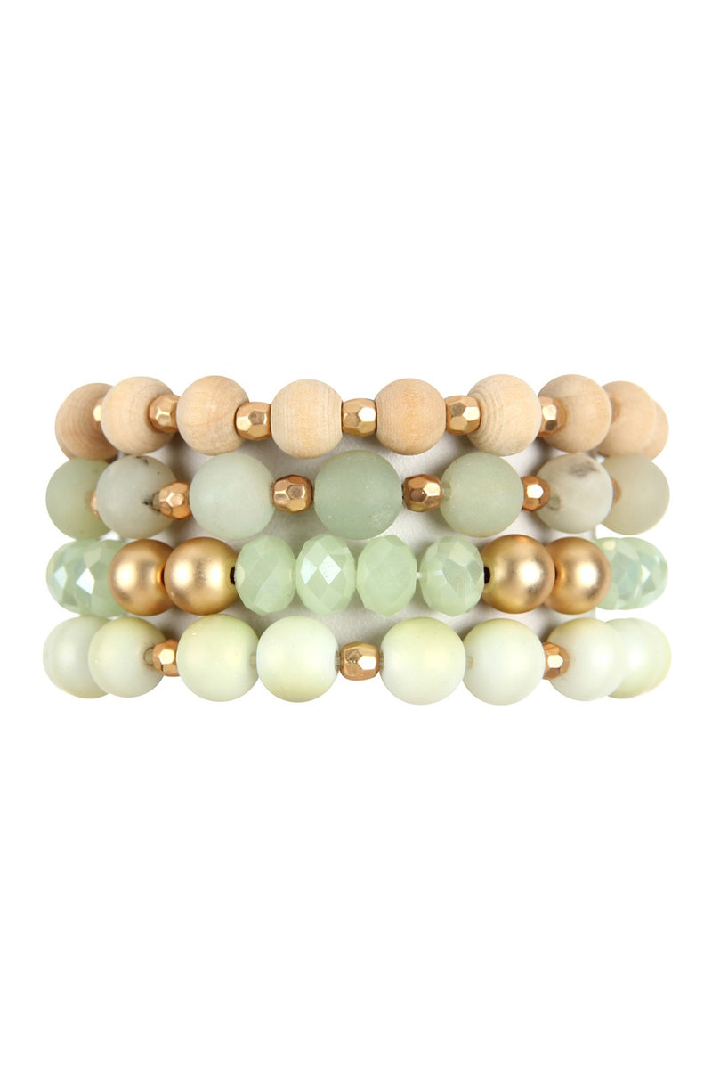 Green Tone 4 Strand Beaded Bangle Bracelet