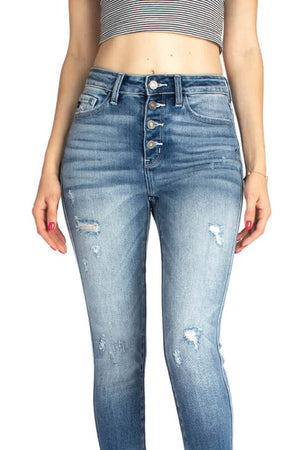KanCan Distressed & Raw Hem Jean in Medium Wash