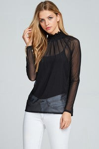 Black Sheer High Neck Blouse