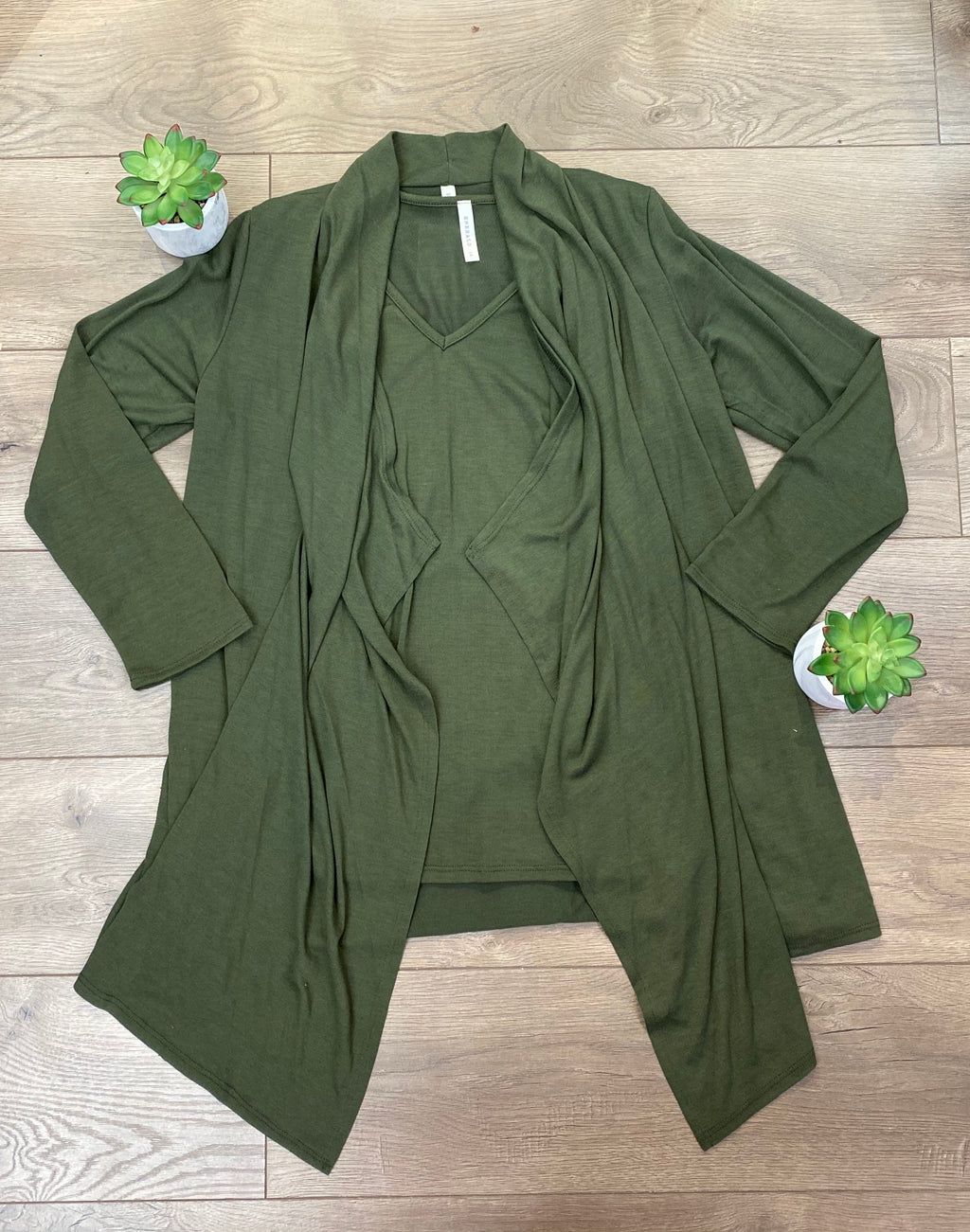 Deep Olive Cardigan/Tank Set