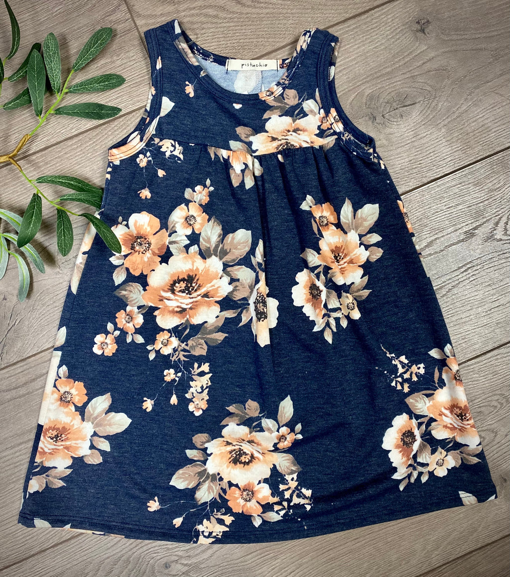 Girl's Navy Floral Tank Dress