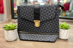 Black Geometric Pattern Backpack Purse and Wallet Set
