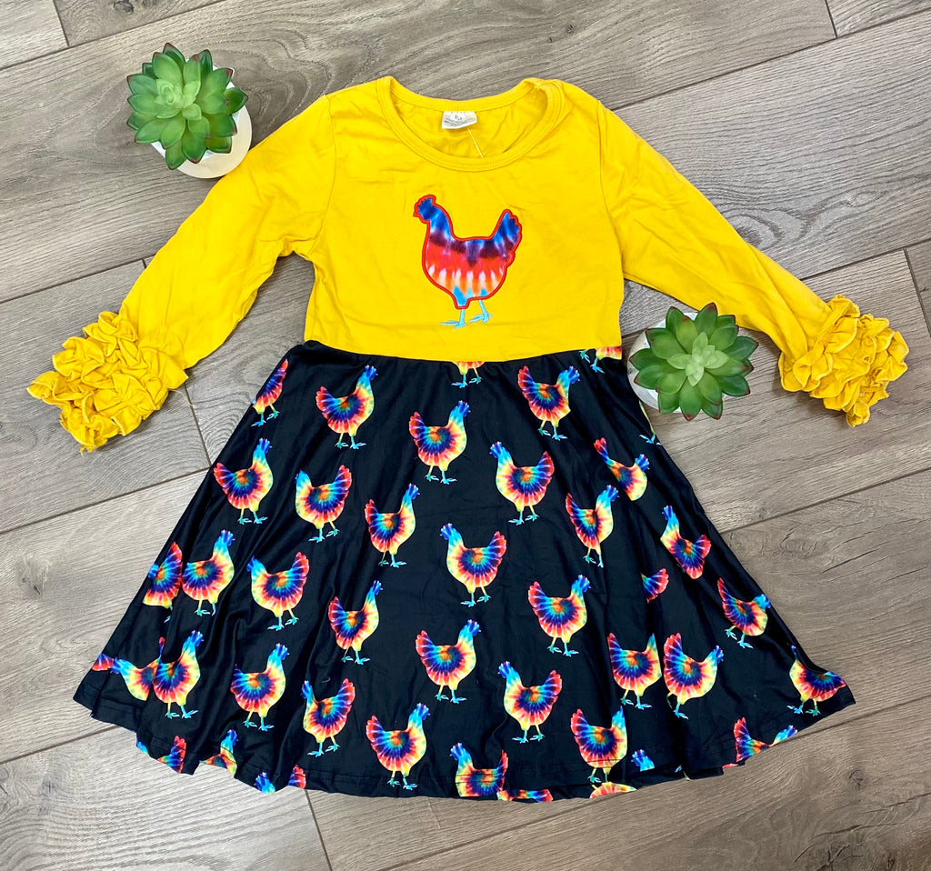 Girls Yellow and Black Dress w/ Tie Dye Chickens