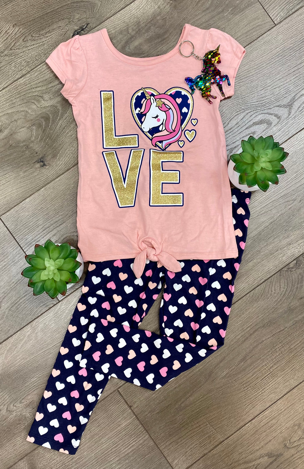 Girls Unicorn Tee & Heart Legging Set