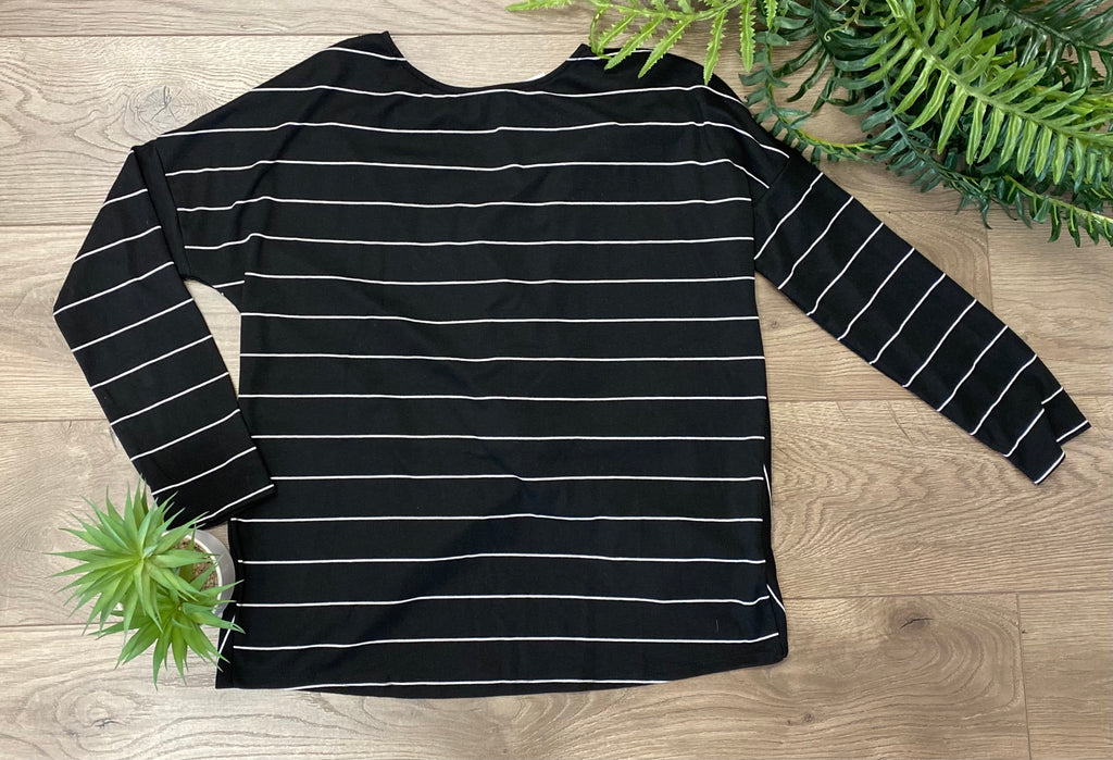 Black Twist Back Striped Top