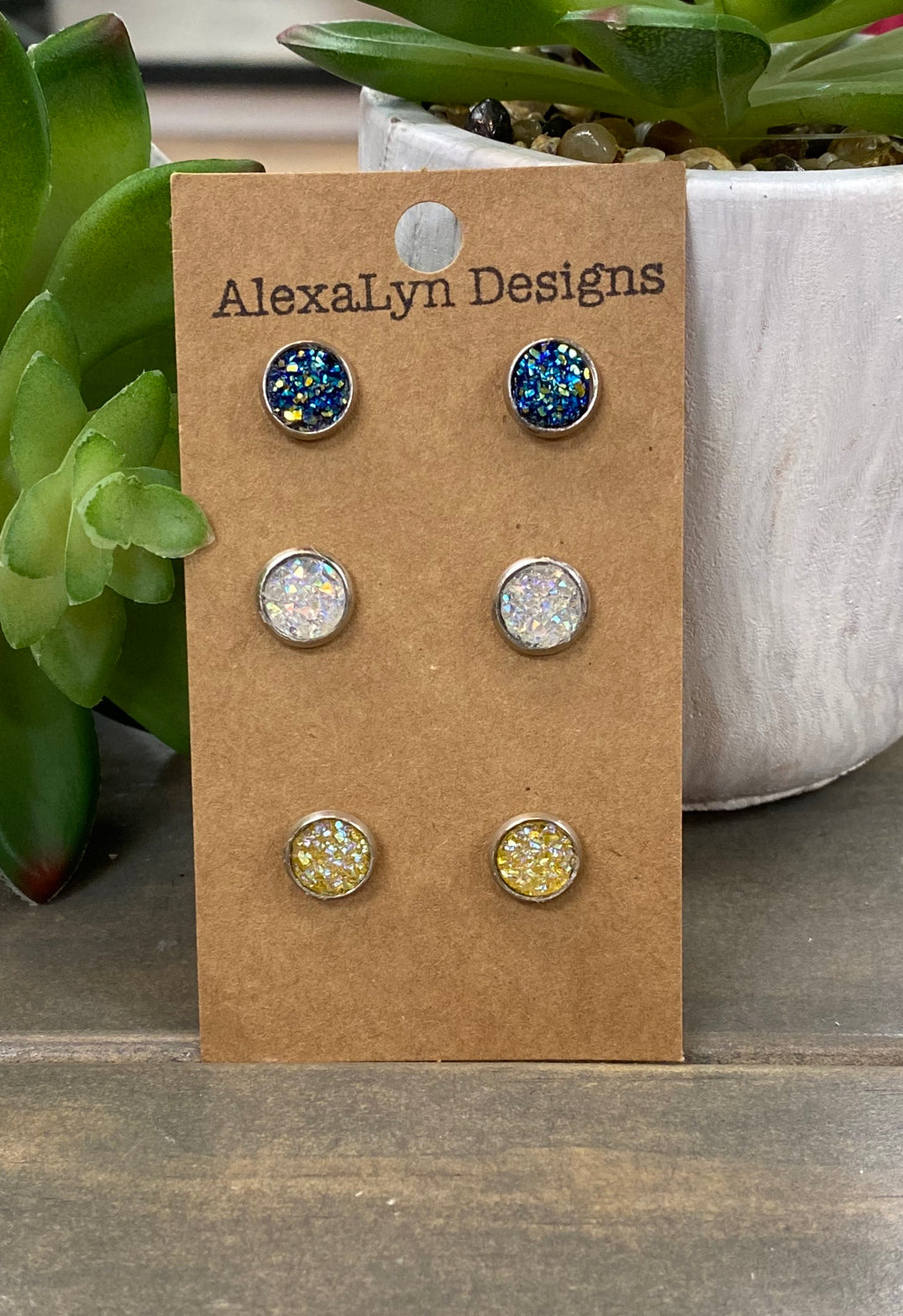 3 Pack Iridescent Stud Earrings