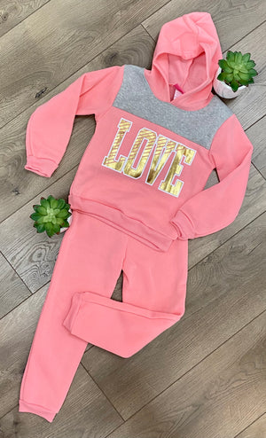 "Girls Light Pink ""Love"" Hoodie Set"