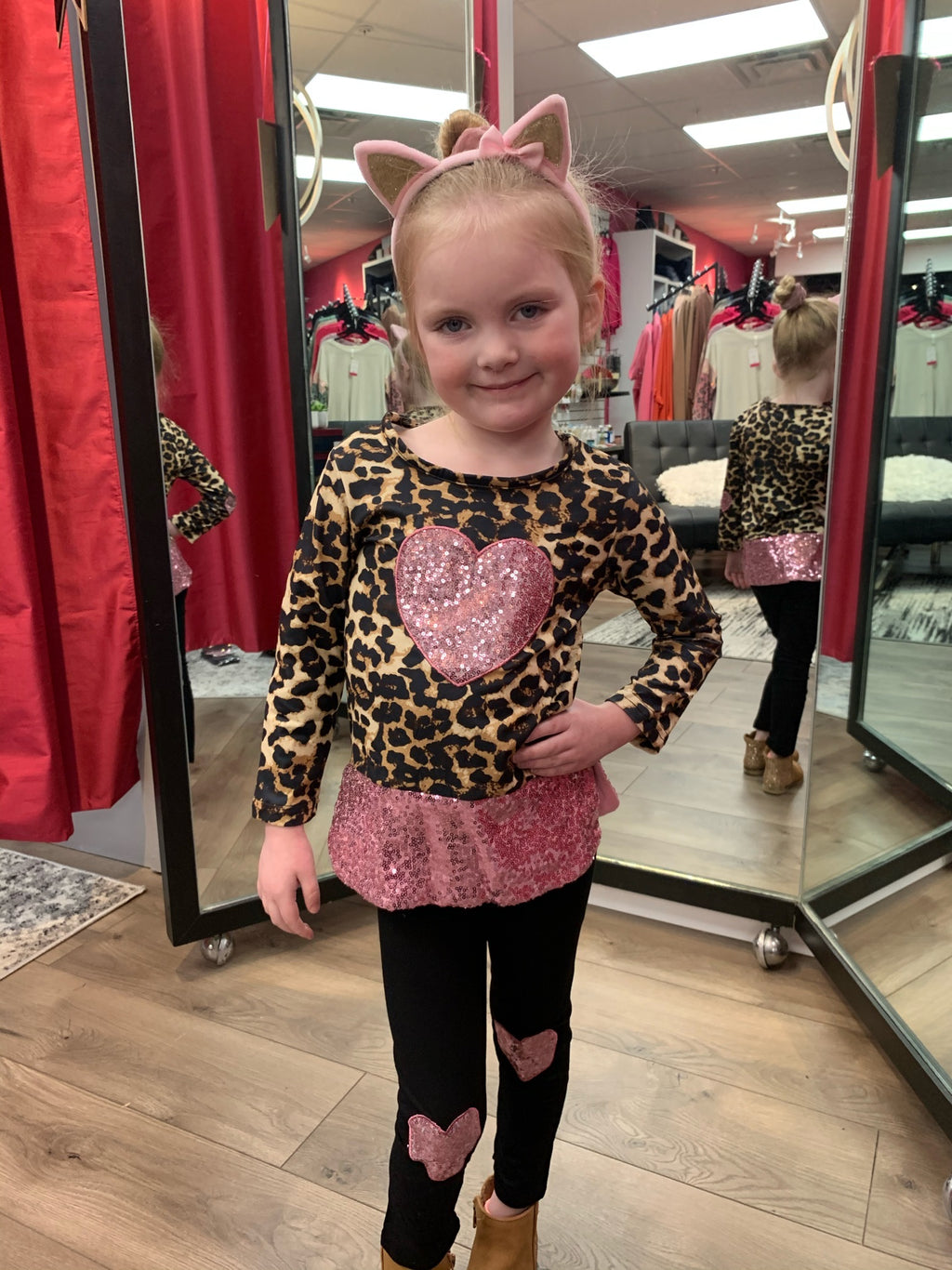 Girl's Leopard Heart Top and Legging Set