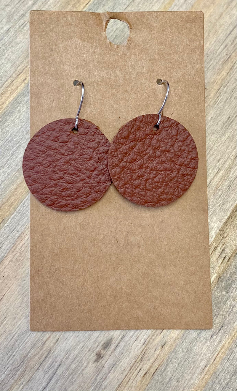 Brown Circle Leather Earring