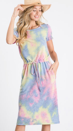 Indigo/Fuchsia Tie Dye Drawstring Midi Dress