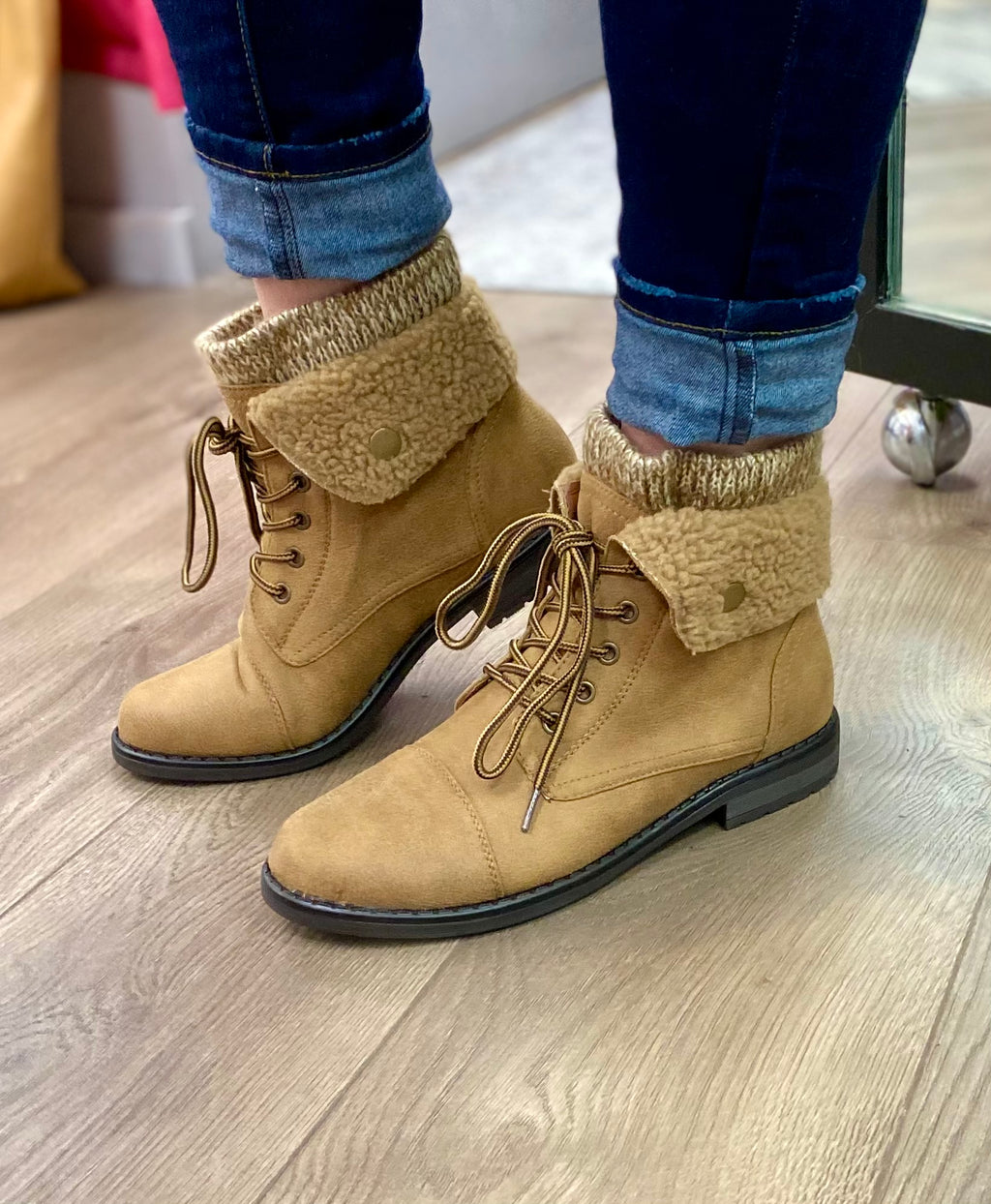 Tan Fleece Fold Down Combat Boots