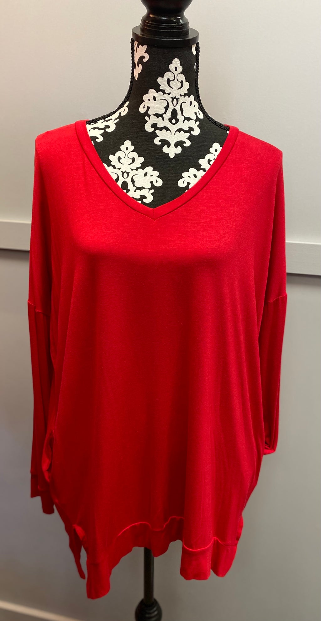 Red V-Neck Tunic w/ Pockets