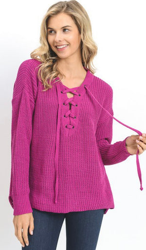 Raspberry Knit Lace Up Sweater