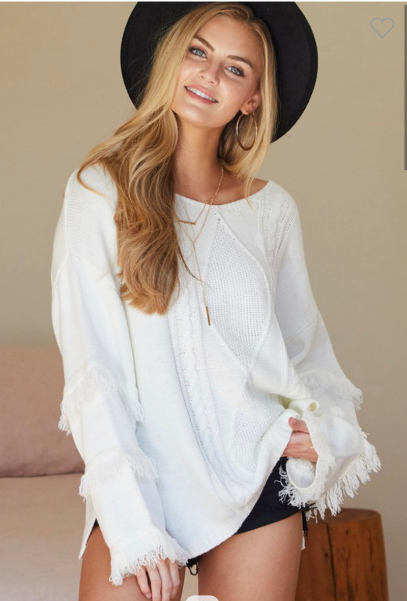 Off White Scoop Neck Cable Knit Sweater W/Tassel Detail