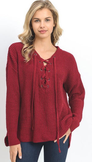 Wine Knit Lace Up Sweater