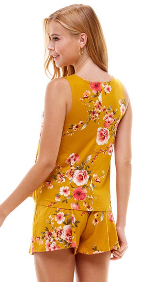 Mustard Floral Lounge Wear Set