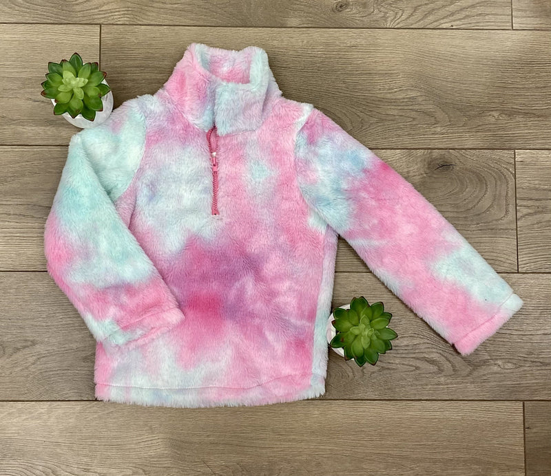 Girls Purple & Blue Tie Dye Sherpa 1/4 Zip