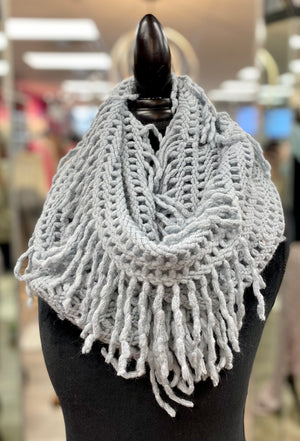 Denim Open Knit Fringe Infinity Scarf