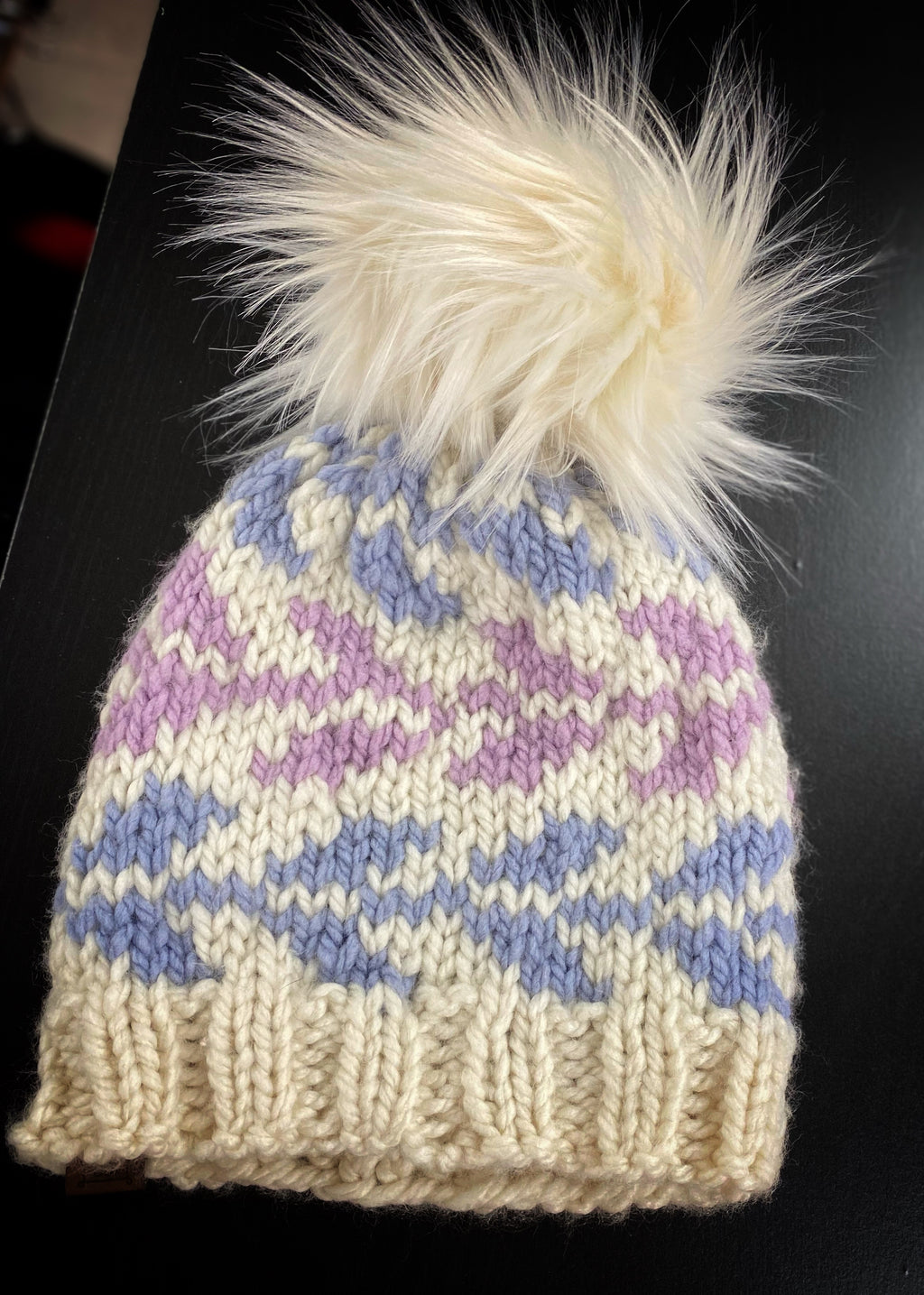 Ivory, Periwinkle, and Lavendar Stocking Hat