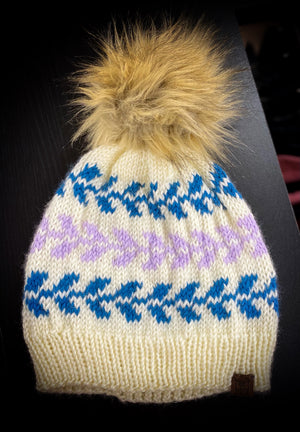 Ivory, Teal, and Lilac Stocking Hat