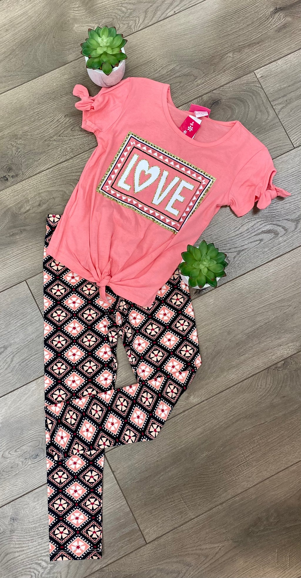 Girls Pink Love Graphic Tee & Geometric Legging Set