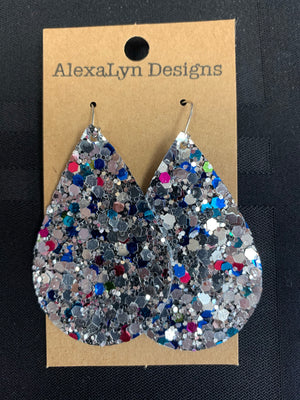 Silver Sparkle Multi Color Earrings (Large)